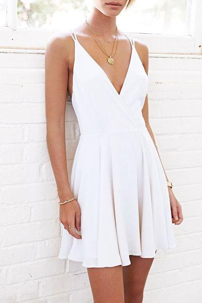 Fashion White Spaghetti Strap Deep V Neck Mini Dress
