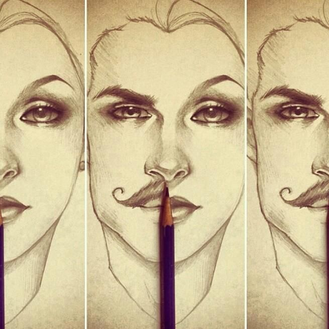 Drawing Lines Between : How to draw the differences between male and female faces