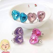 Heart Crystal Rhinestone Kids S No Pierced Earrings Ear Clip