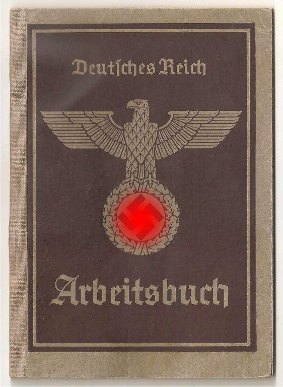 Арбайтенбух Трудовая книжка 3 рейх оригинал 1939 г.