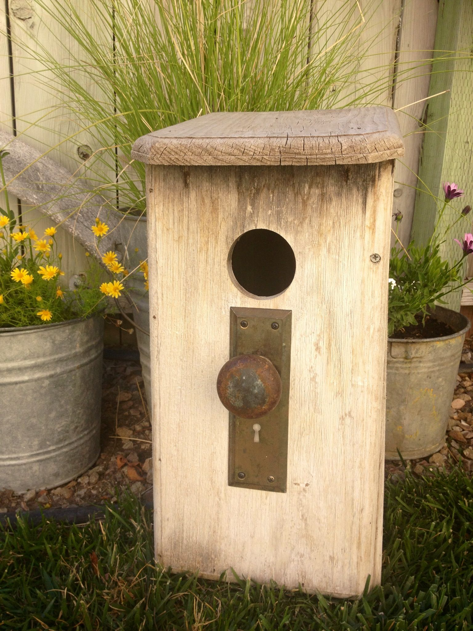 found this cool old birdhouse at a garage sale & added the ...