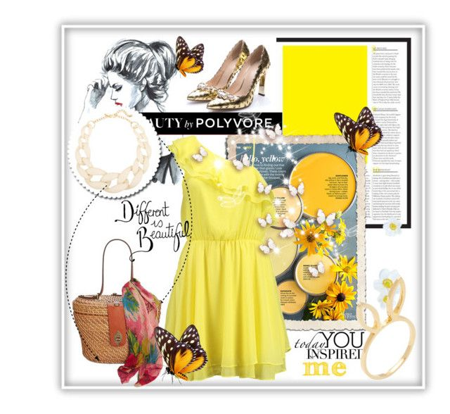 """yellow dress"" by ainzme ❤ liked on Polyvore featuring Better Homes and Gardens, Bik Bok, Kenneth Jay Lane, Patricia Nash and Jacquie Aiche"