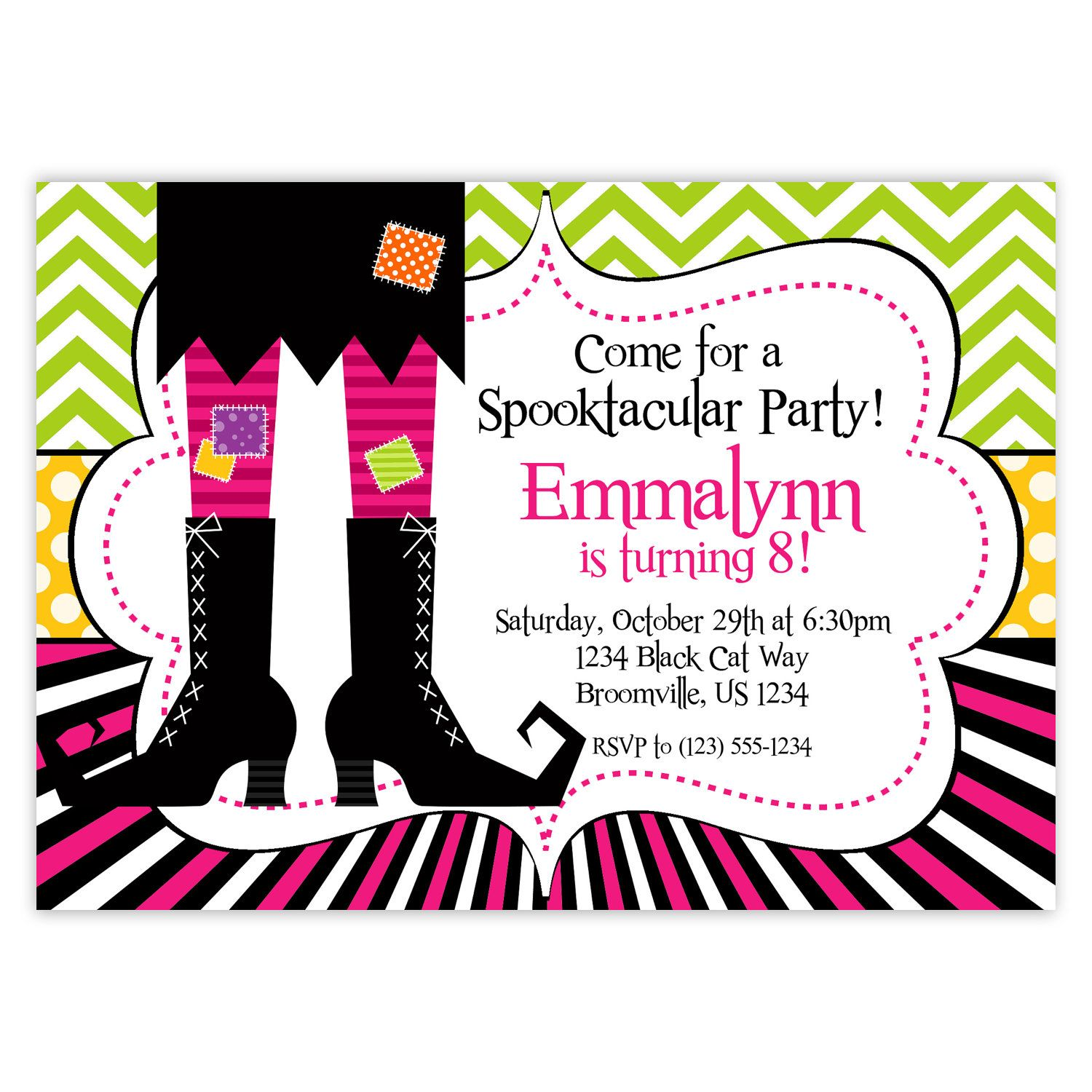 Halloween Invitation  Green Pink Black Chevron Stripes Polka