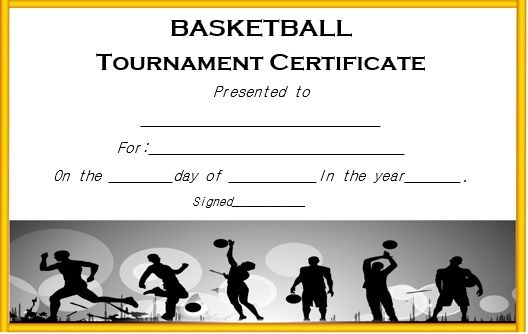 Basketball Tournament Certificate Template  Basketball Certificate