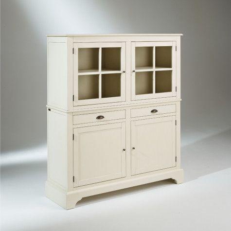 Buffet vaisselier patin 4 portes provence buffet Meuble patine blanc ivoire