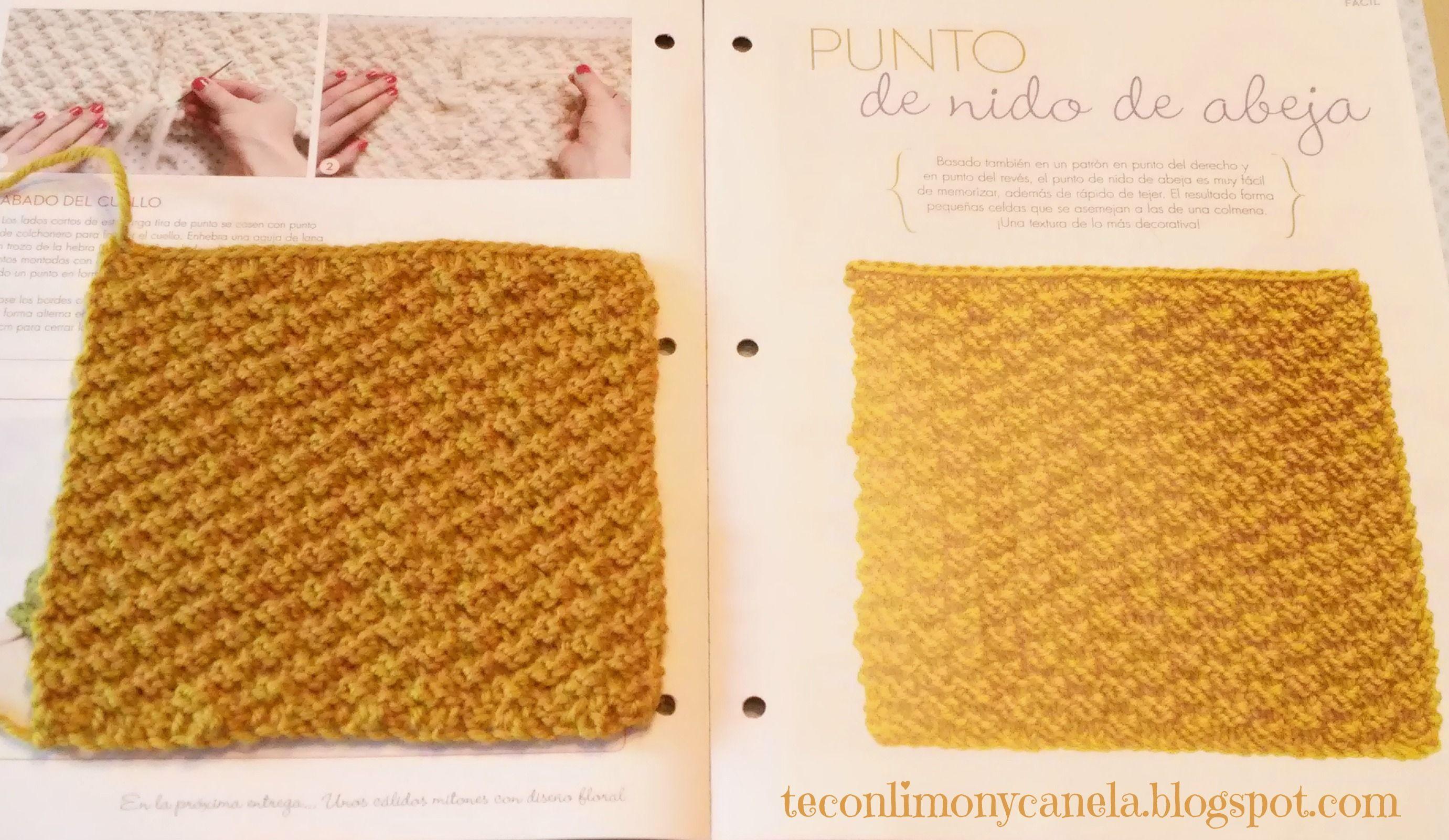 Quinto cuadrado de mi manta: PUNTO NIDO DE ABEJA. #tricotfacilycreativo #punto #knitting #aprendiendoahacerpunto
