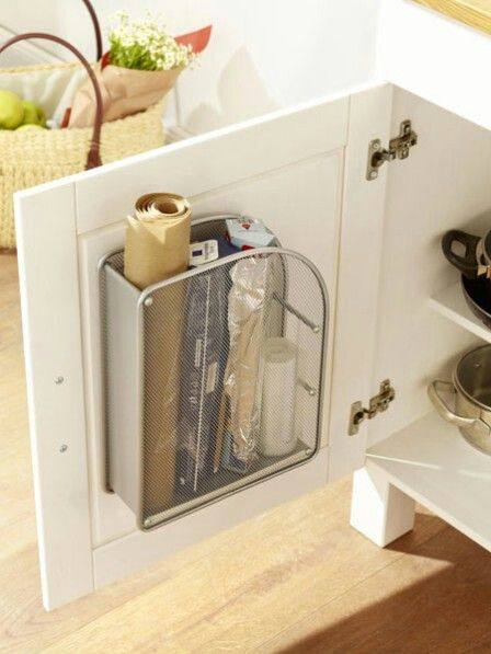 Magazine rack inside cabinet door to store foil and plastic …