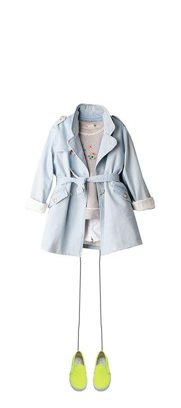 Bonpoint Summer 2015: light jean trench coat, light grey sweatshirt, milk white shorts and acid yellow slip-on shoes.