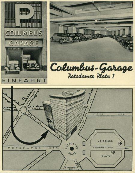 Columbus garage im columbus haus am potsdamer platz 30er for Garage ad barlin