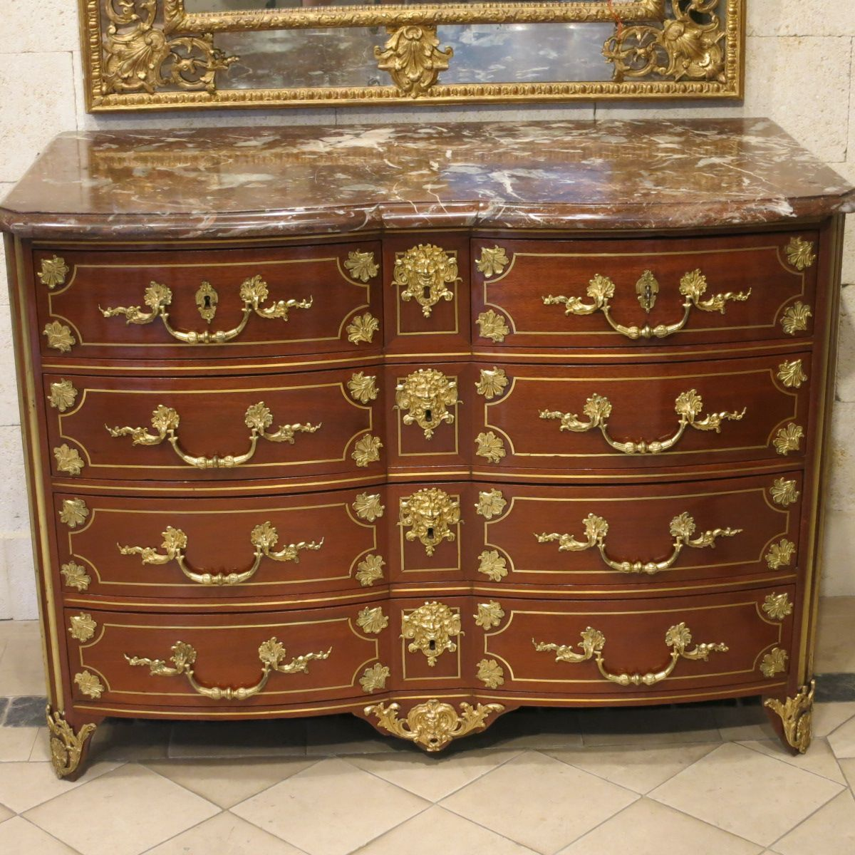 #Commode in #amaranth wood with four rows of drawers, gilded #bronze ornamentation and red breccia #marble top. #18thcentury. For sale on #Proantic by Laurent Chalvignac.