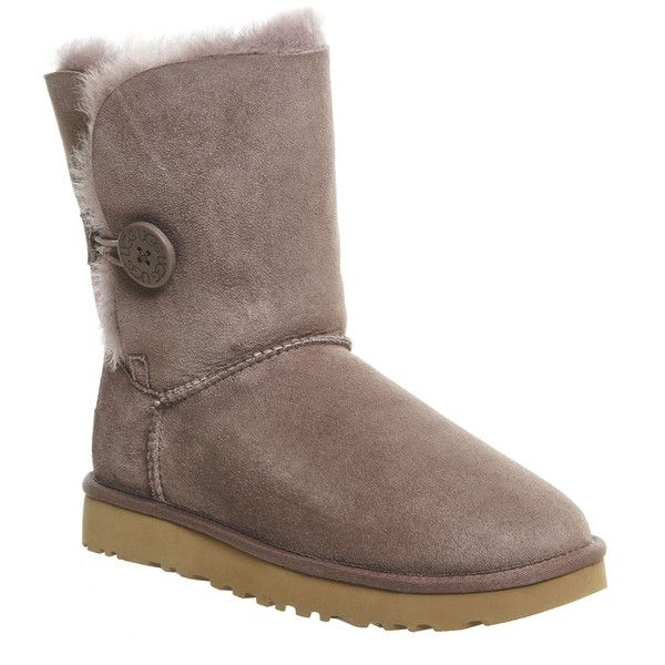 UGG Australia Bailey Button Ii Boots (£165) ❤ liked on Polyvore featuring shoes, boots, ankle booties, ankle boots, stormy grey suede, women, grey booties, ugg booties, ugg boots and gray boots