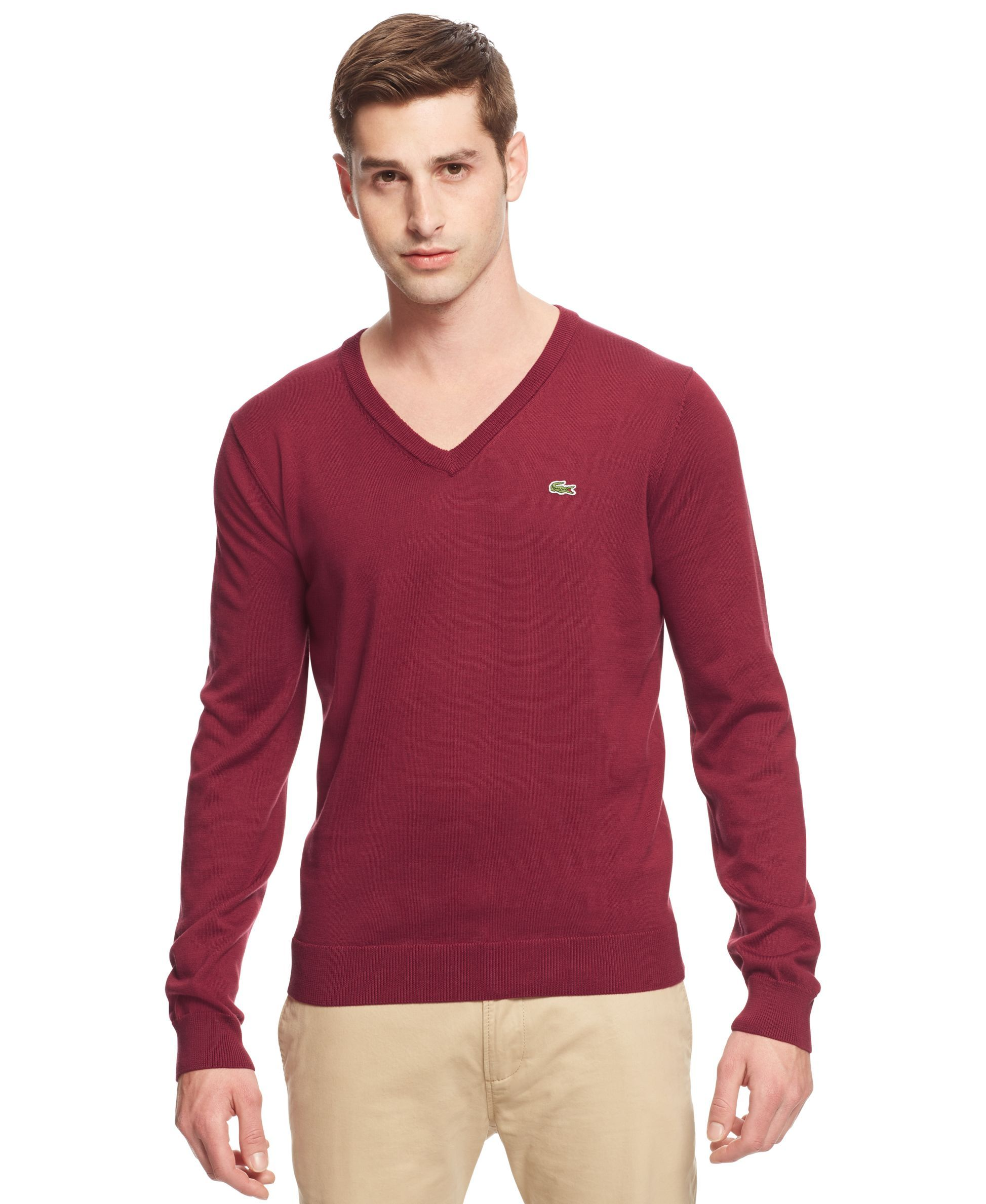 19de948038 Lacoste Big and Tall Solid V-Neck Jersey Sweater | Products | Men ...