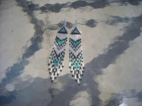 Seed Beaded Earrings Turquoise Blue Brown Black and Bone Native American Inspired Seed Beaded Jewelry Fringed Earringsamerican