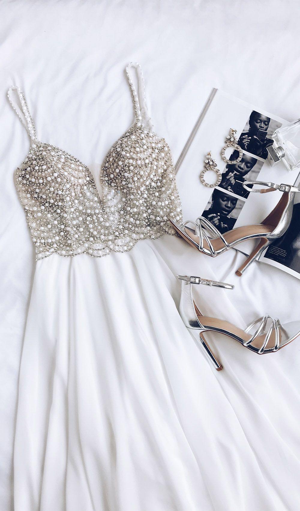 True love white beaded rhinestone maxi dress thick heels prom and