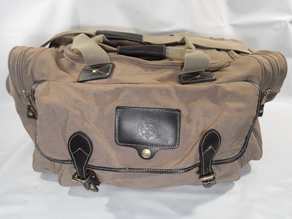 f617ac77d8 Vintage FORD Eddie Bauer Canvas   Leather Duffle Bag Gym Bag Carry On-USA  MADE!  EddieBauer  DuffleGymBag