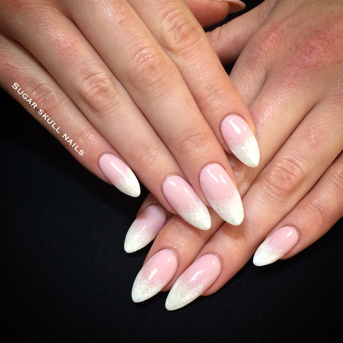 Acrylic almond sculptures with graded French overlay | Nails ...