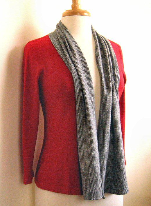 bd7b9aa54839 old knit sweater plus t-shirt knit pants...refashioned into shawl sweater