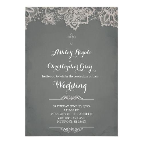Christian Wedding Invitation Charcoal Grey Catholic Wedding