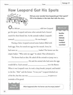 How Leopard Got His Spots: Quick Cloze Passage (Grades 2-3