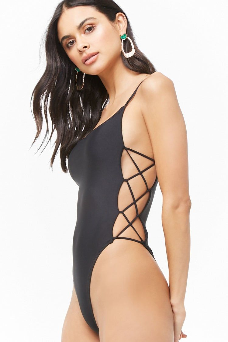 Sheeny Crisscross Cutout One-Piece Swimsuit