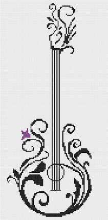 Guitar 2 Modern Cross Stitch Pattern PDF Chart Black
