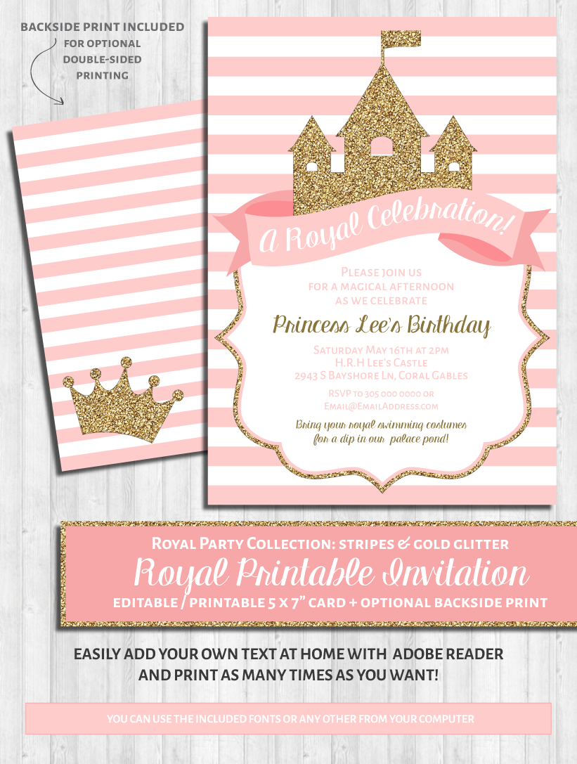 Princess Party Invitations: Pink and gold glitter | Princess party ...