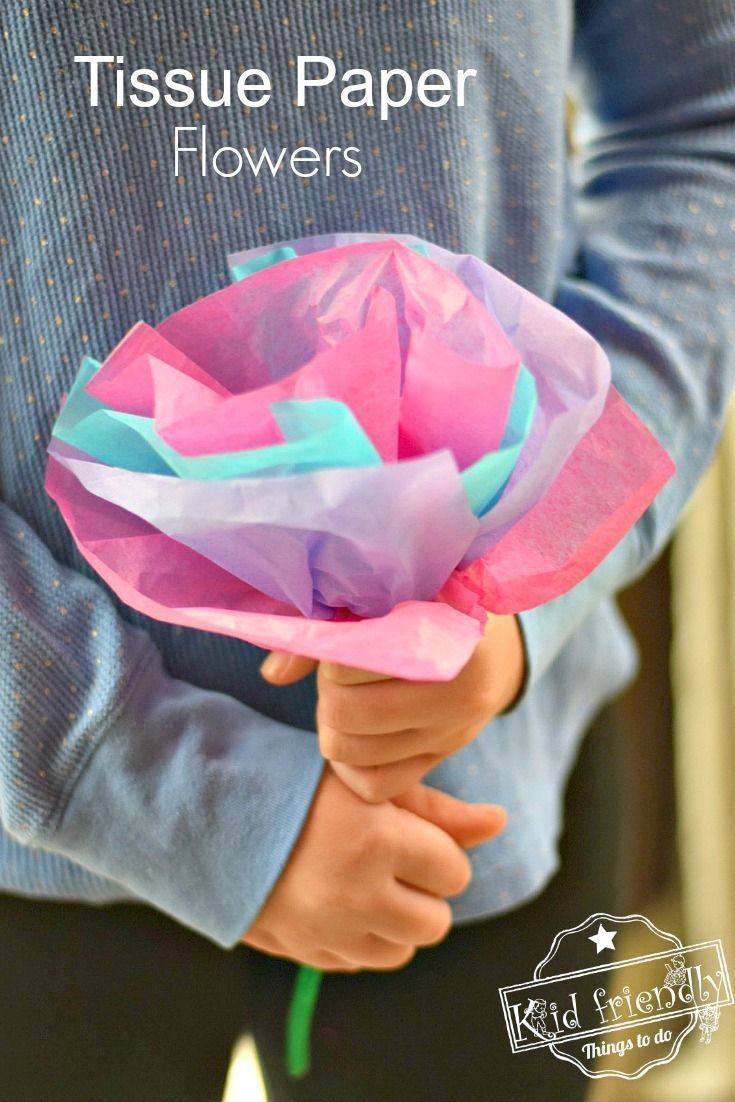 Diy Tissue Paper Flowers For Kids To Make With Pipe Cleaners Kid
