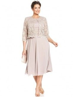 A Line Princess Scoop Sleeveless Lace Tea Length Chiffon Mother Of The Bride Dresses With Jacket