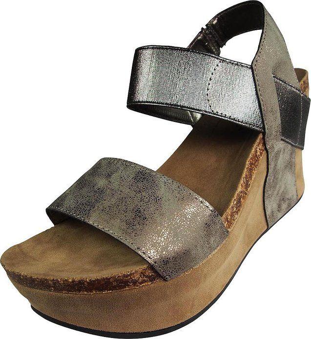c001ec814c2ef Pierre Dumas Women's Hester-1 Pewter-Steel Wedge Sandal (9 M ...