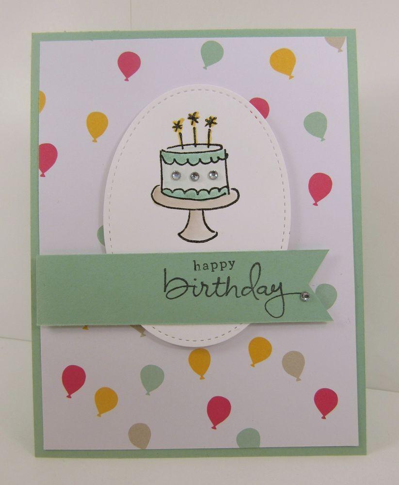 Stampinu up happy birthday cake card kit balloons mint macaron