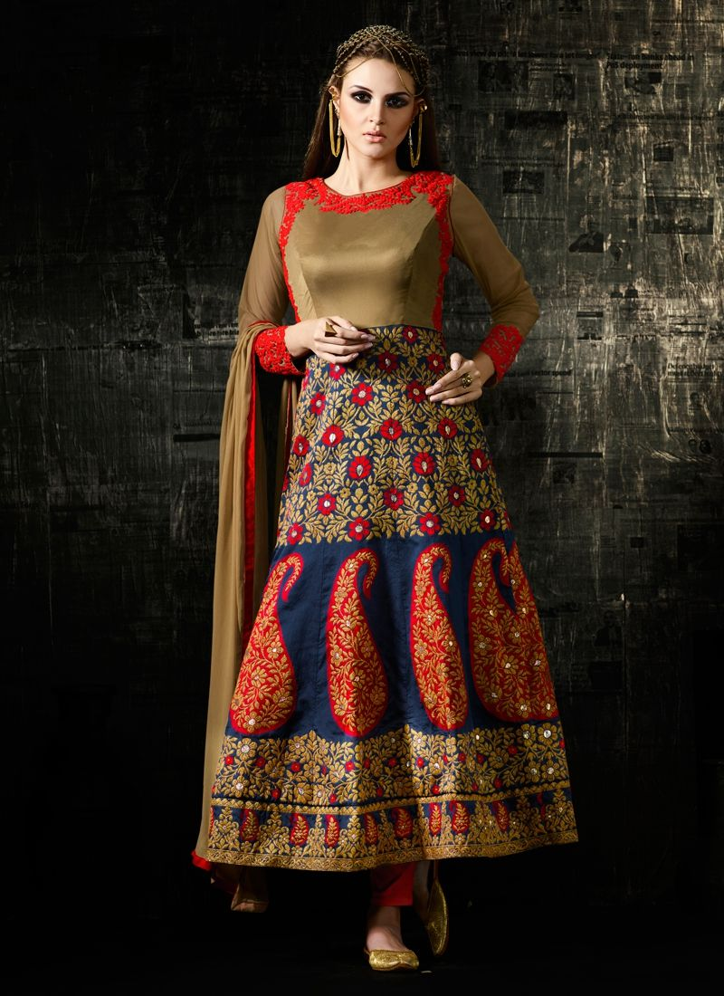 Buy exceeding embroidered work net multi colour anarkali salwar