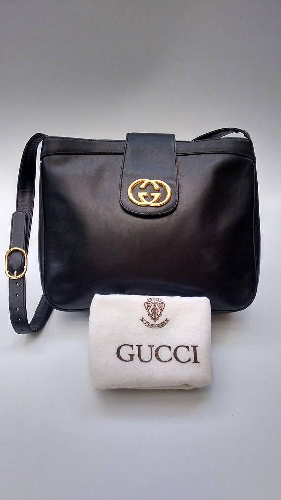Gucci Vintage Black Leather Shoulder Bag Italian Designer Handbags