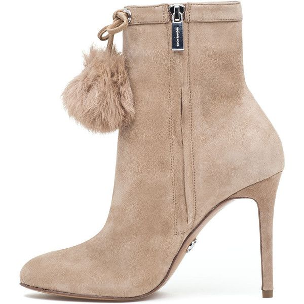 MICHAEL MICHAEL KORS Remi Bootie Light Khaki Suede (290 PEN) ❤ liked on Polyvore featuring shoes, boots, ankle booties, ankle boots, stiletto booties, stiletto bootie, suede high heel boots and suede boots
