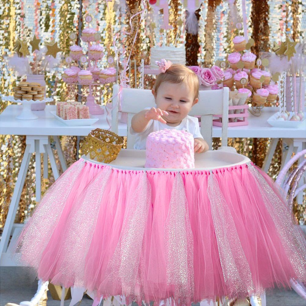 Baby Shower Birthday Decor for High Chair Home Textiles Tutu Tulle Table  SELL