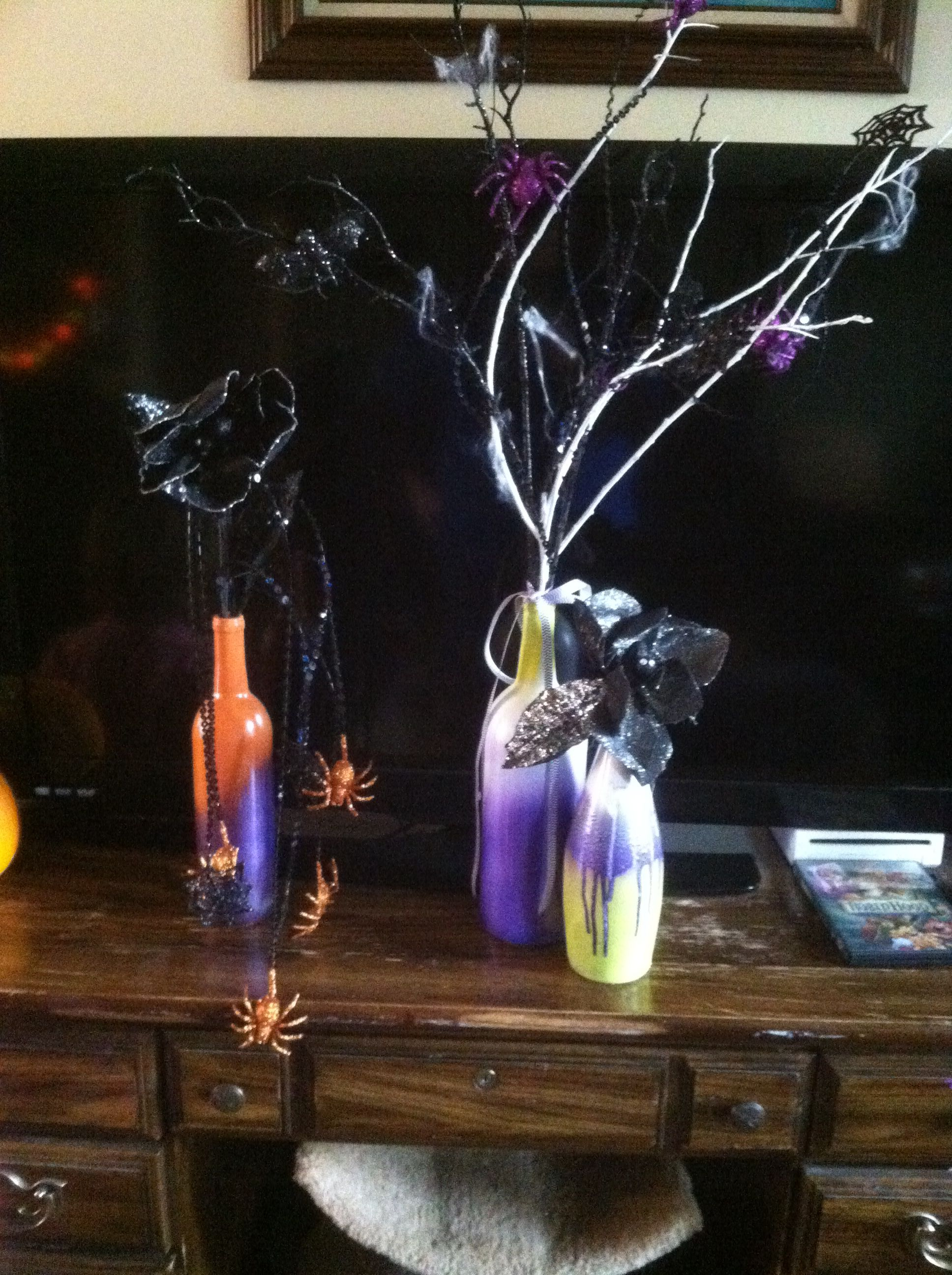 Halloween decoration-reused wine bottles