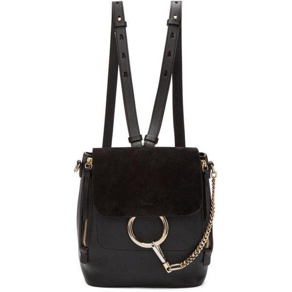 Chloé Black Small Faye Backpack (33,975 MXN) ❤ liked on