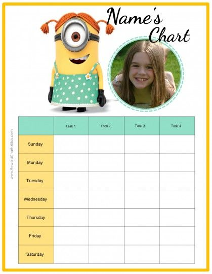 Free custom behavior chart with the Minions Customize online - chore chart online