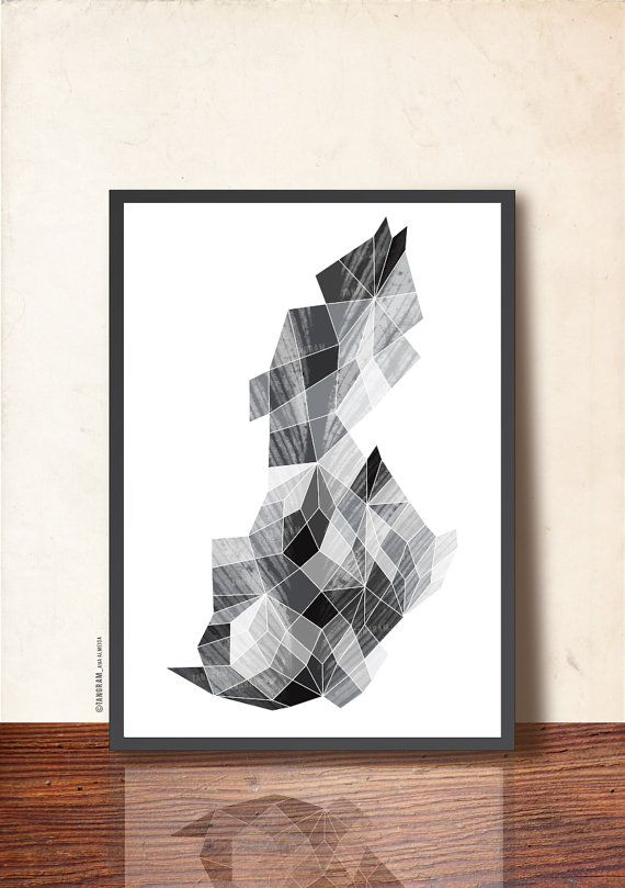 Geometric art my precious gemstone black white abstract art by tangramartworks