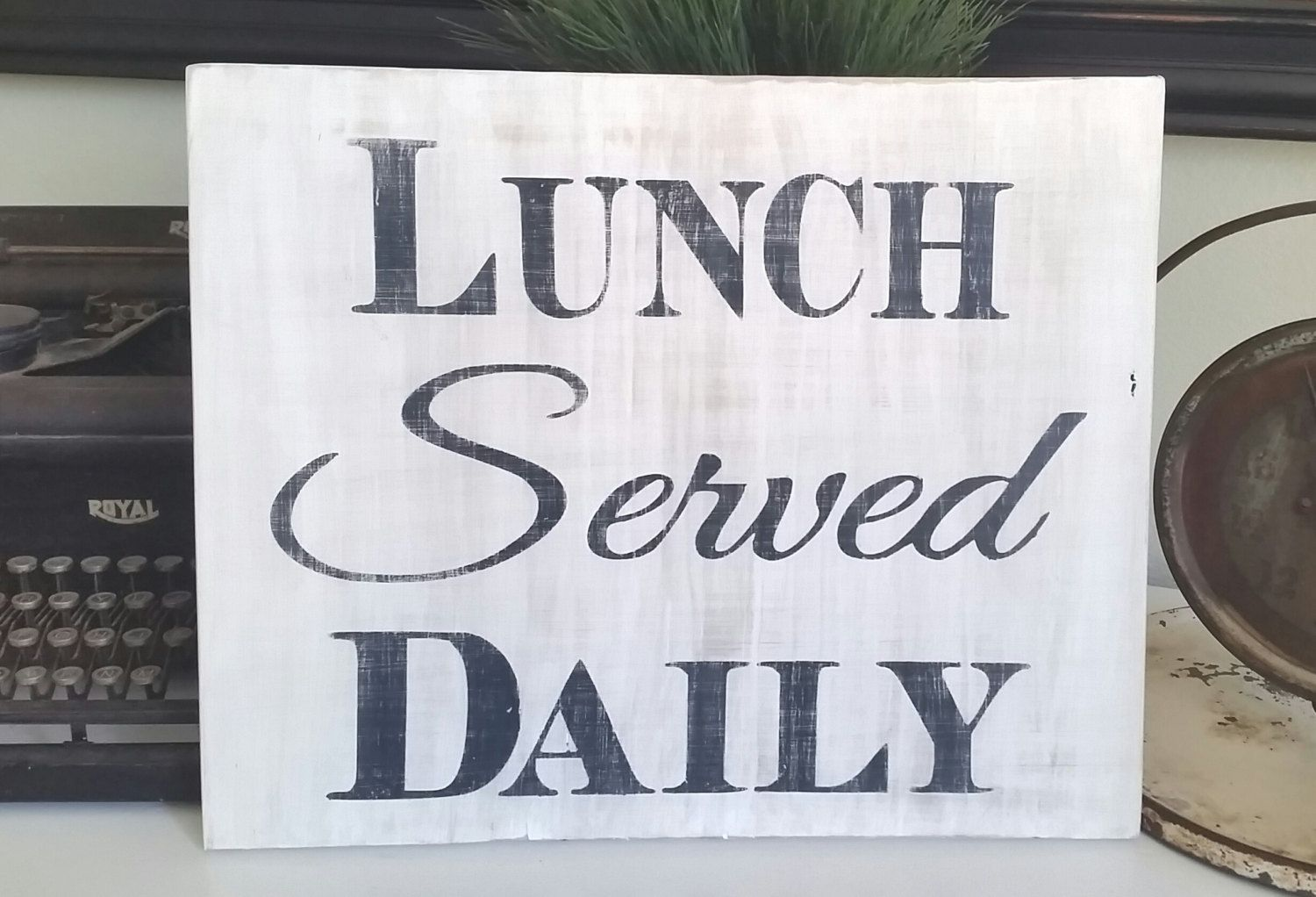 Handmade White and Black Rustic Lunch Served Daily Wood Sign ...