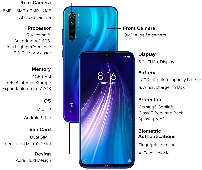 Redmi Note 8 Neptune Blue 4gb Ram 64gb Storage Iphone Offers 4gb Ram 64gb