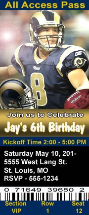 St Louis Rams Football Theme Birthday Party Invitations Ticket Style Personalized