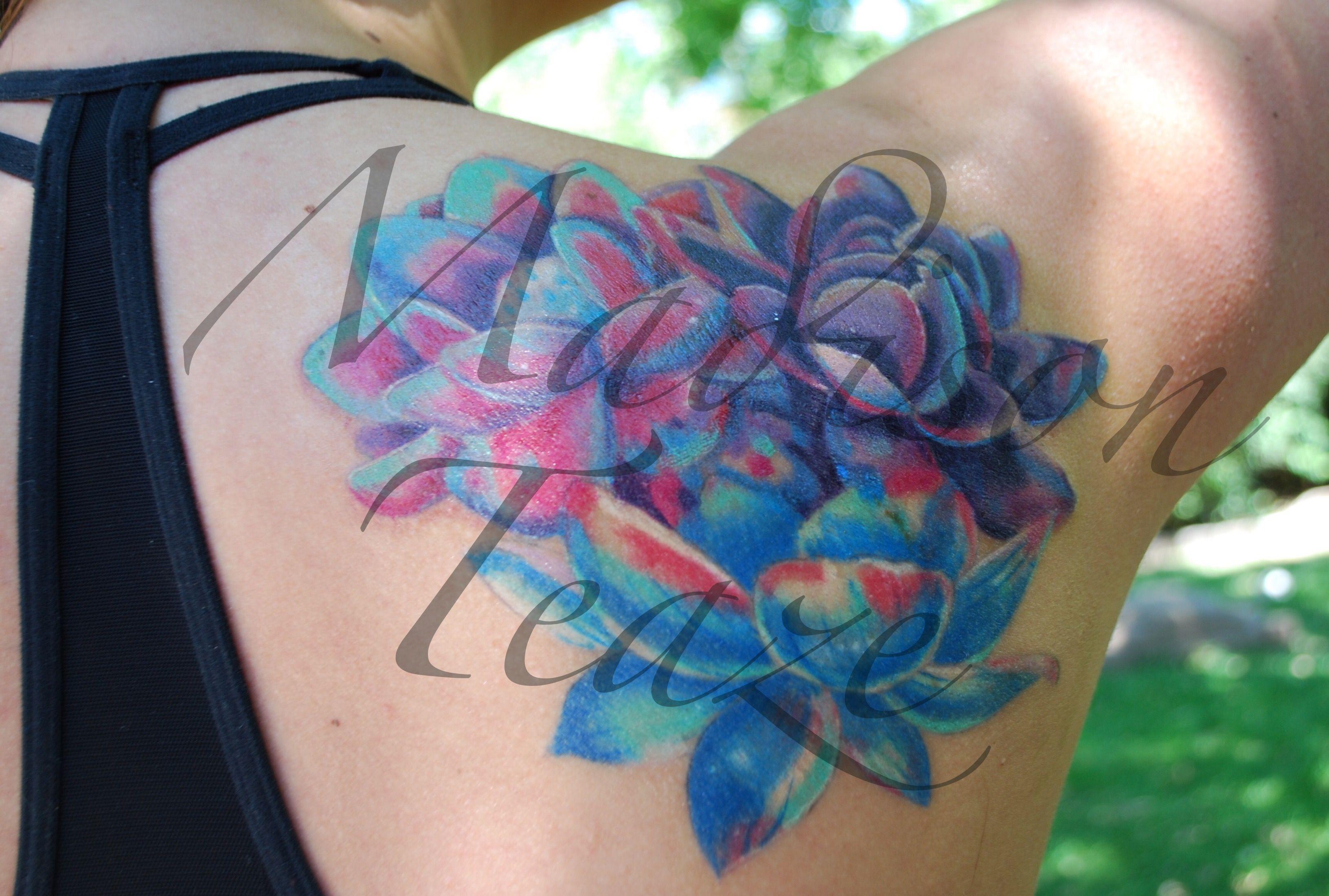 Madison teaze tattoo lotus watercolor 2015 slc ink