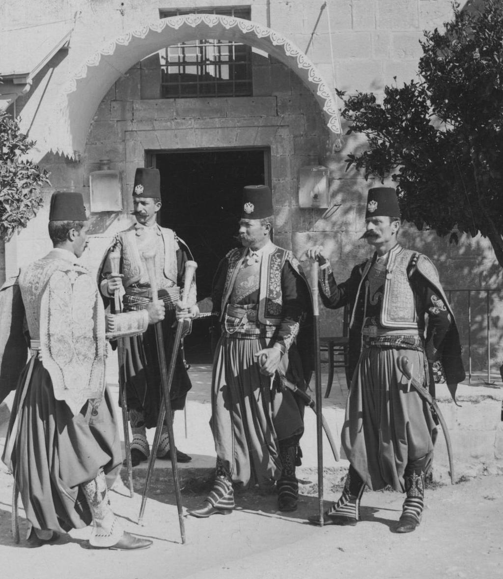 [Ottoman Empire] Kavas (Guard), Military Officers in Jerusalem, Palestine, 1890s (Osmanlı Dönemi Kudüs'de Kavaslar)