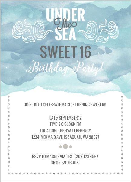 Under The Sea Sweet 16 Birthday Invitations Deep Blue Sea
