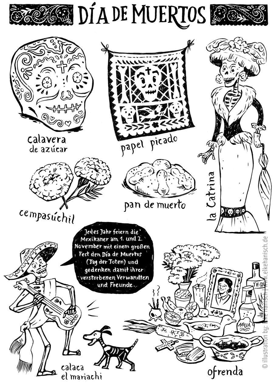 Coloring page and spanish vocabulary for Día de Muertos - mexican ...