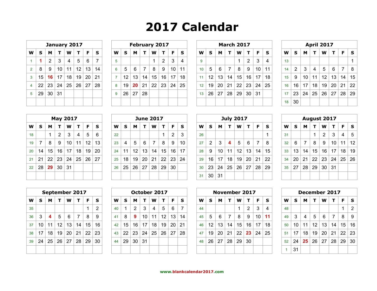 Blank Printable Calendar 2017 | PAPELES | Pinterest | Calendar ...
