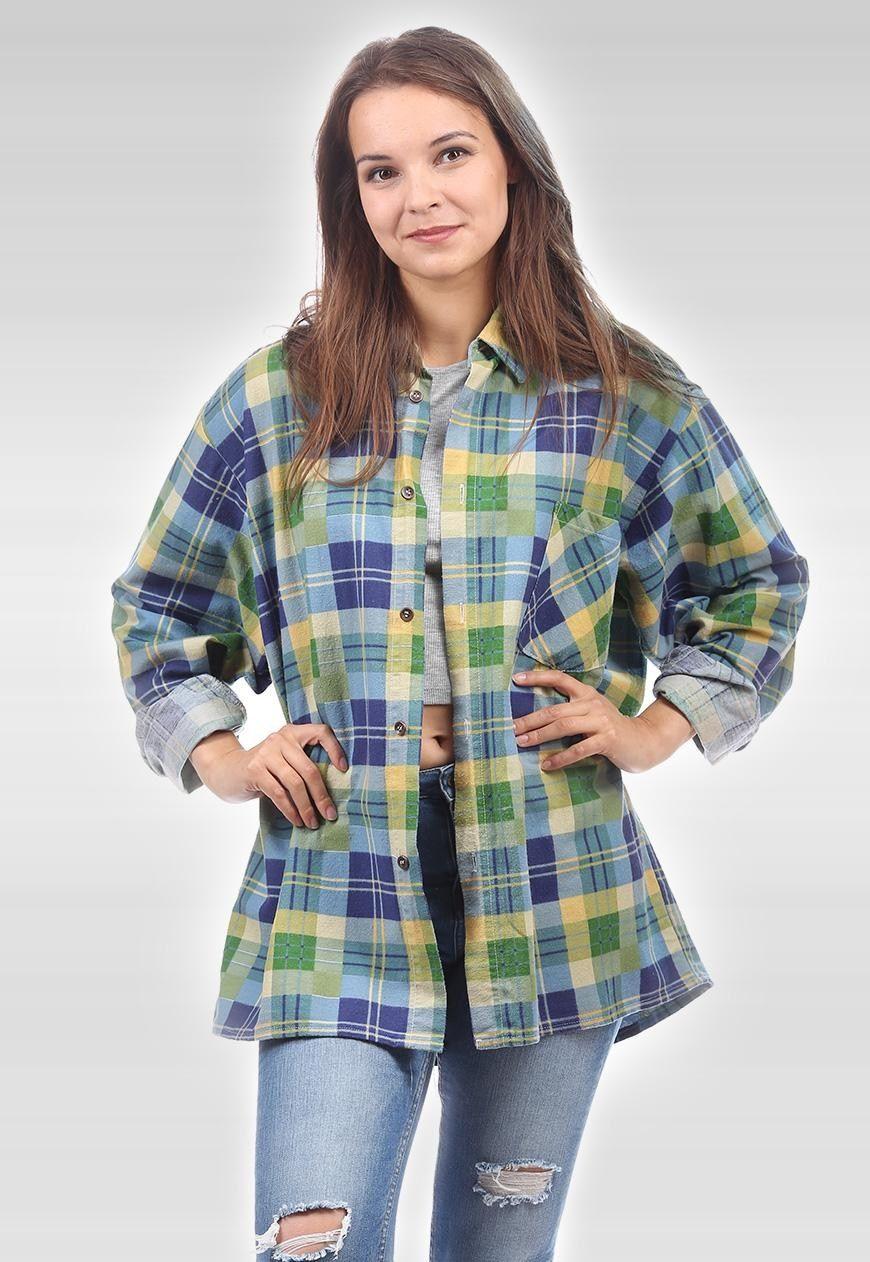 Flannel shirts 1990s  Vintage s Plaid Flannel Shirt L XL   Timbaka  ASOS