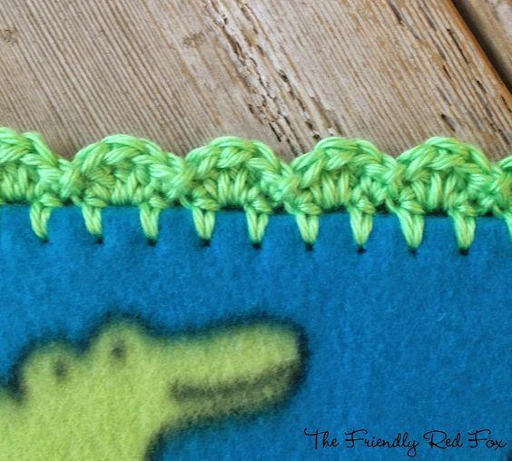 Crochet Edge on Fleece Blanket Tutorial | Tutoriales, Bebé y Tejido