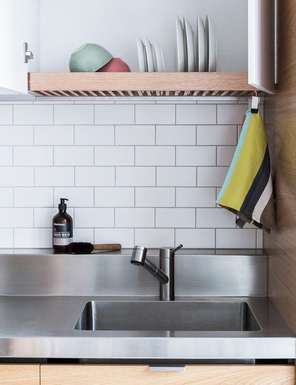 over sink drying rack hidden behind a cupboard door. Black Bedroom Furniture Sets. Home Design Ideas