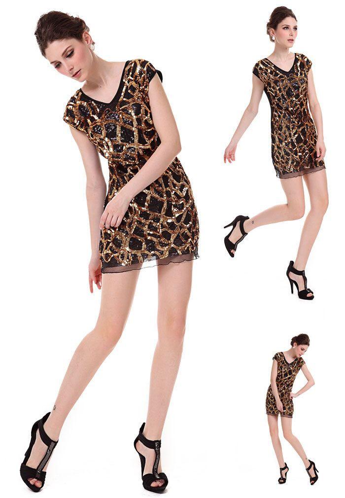New Lady Women's Summer Wear V-Open Exquisite Sequin Jumper Skirt Dress on AliExpress.com
